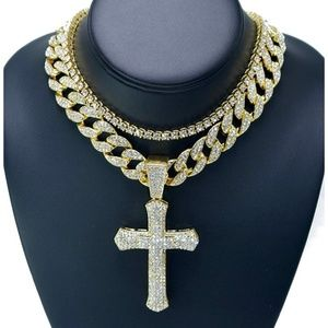 """Accessories - Iced Out Cross Pendant & 18"""" Choker Necklace Set"""